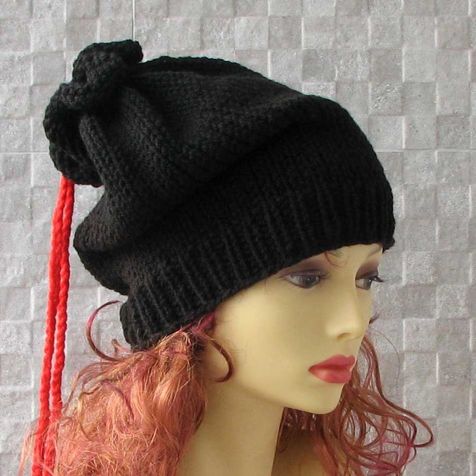 extra long Hand knit hatbeanie Black hat