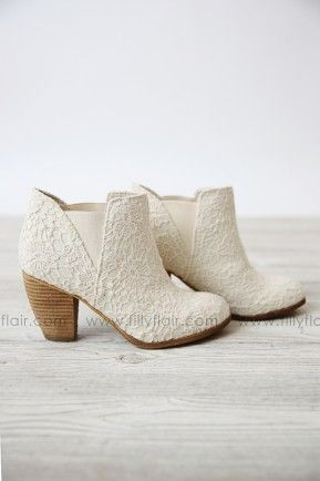 b7f70a56b0 Lace Booties in Ivory  RESTOCK
