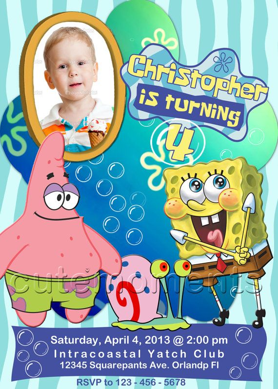 Spongebob squarepants spongebob invitation spongebob birthday spongebob squarepants personalized birthday party invitation with your childs photo filmwisefo