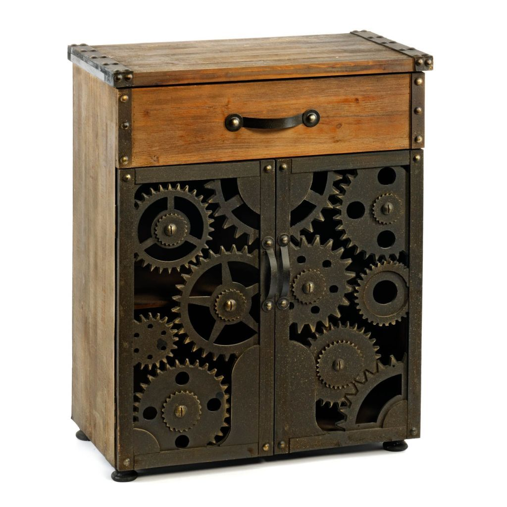 Wooden Cog Steampunk Style Cabinet Vintage Industrial Storage Industrial Storage Cabinets Wooden Cabinets