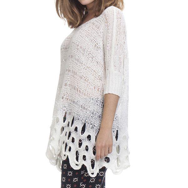 Jersey largo - blanco   Punto calados   Pinterest   Blanco y Puntos