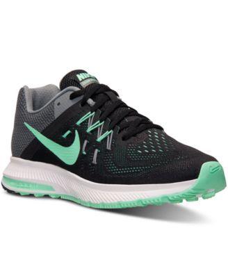 nike zoom winflo 2 in scarpe da ginnastica sintetico nero / verde bagliore