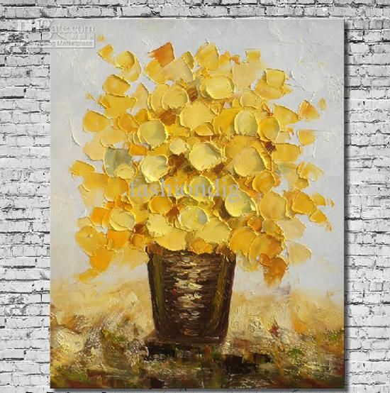 Modern Flower oil painting canvas Thick oil abstract handmade home ...