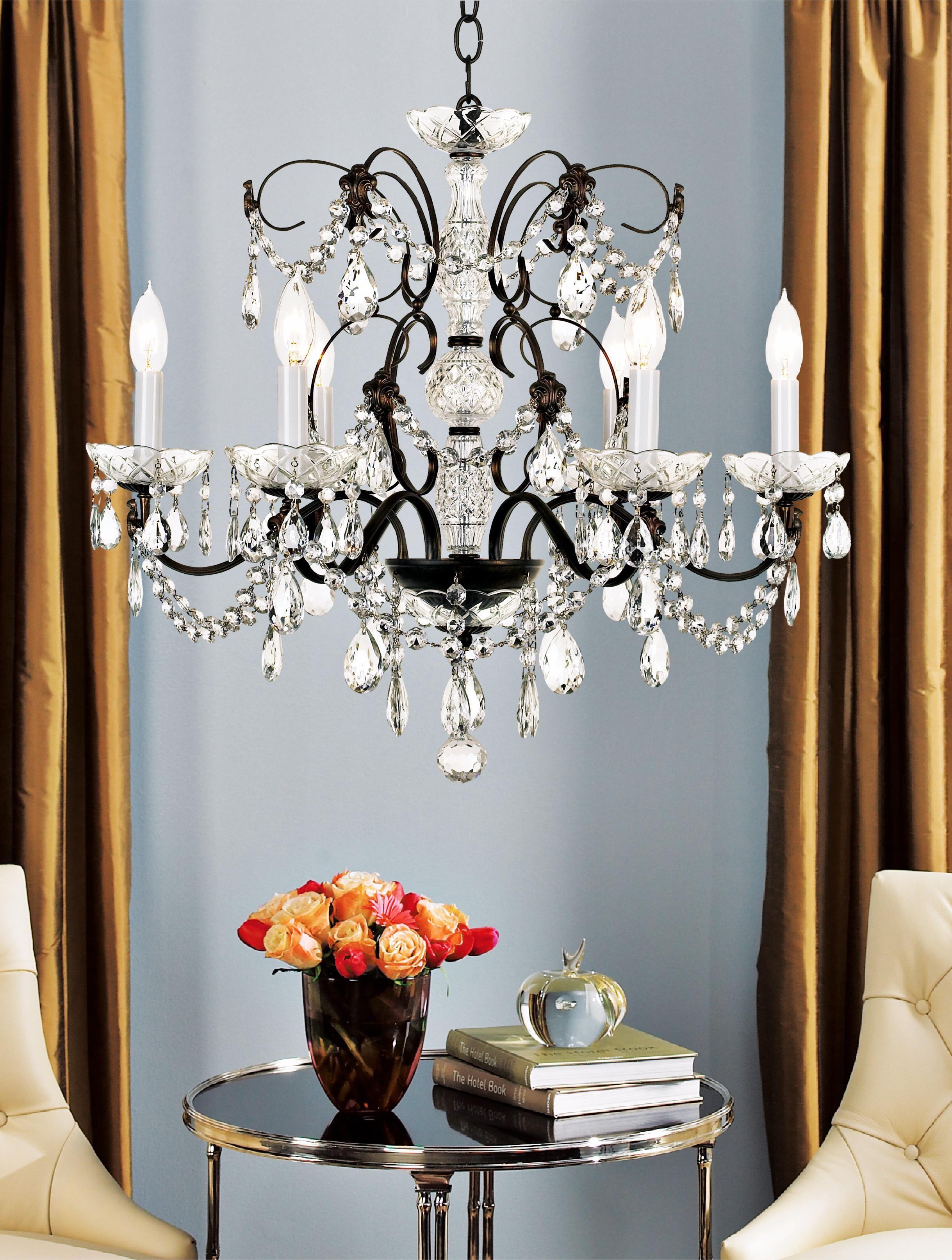 Schonbek Madison Collection Six Light Crystal Chandelier – Schonbek Sterling Chandelier
