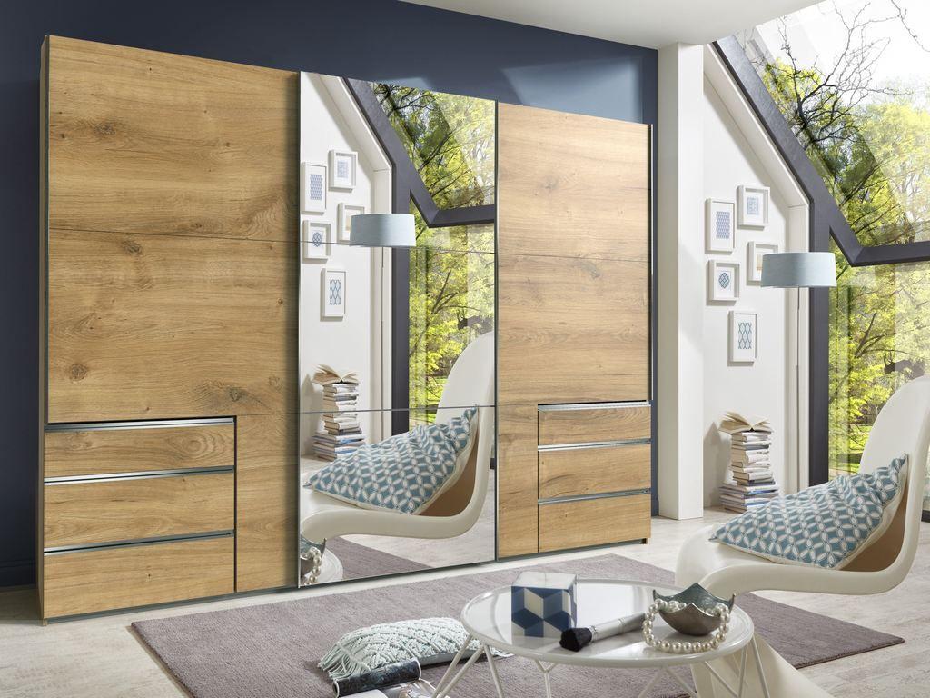 Kenai 300cm Sliding Wardrobe With Mirror Planked Oak Finish Mirrored Wardrobe Luxury Wardrobe Bedroom Cupboard Designs