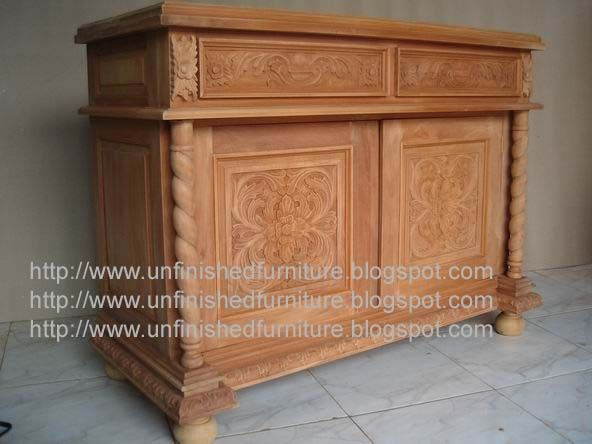 Unfinished Mahogany Furniture Barley Carved Cabinet Made Of Fine Solid Kiln Dry Mahoga French Style Furniture Raw Furniture