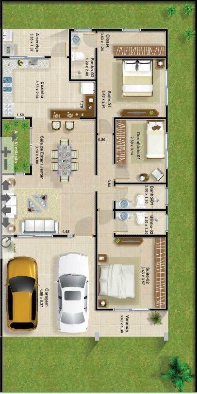 Com passagem area externa no centro da casa countryeuro for Planos para construir una casa de un piso
