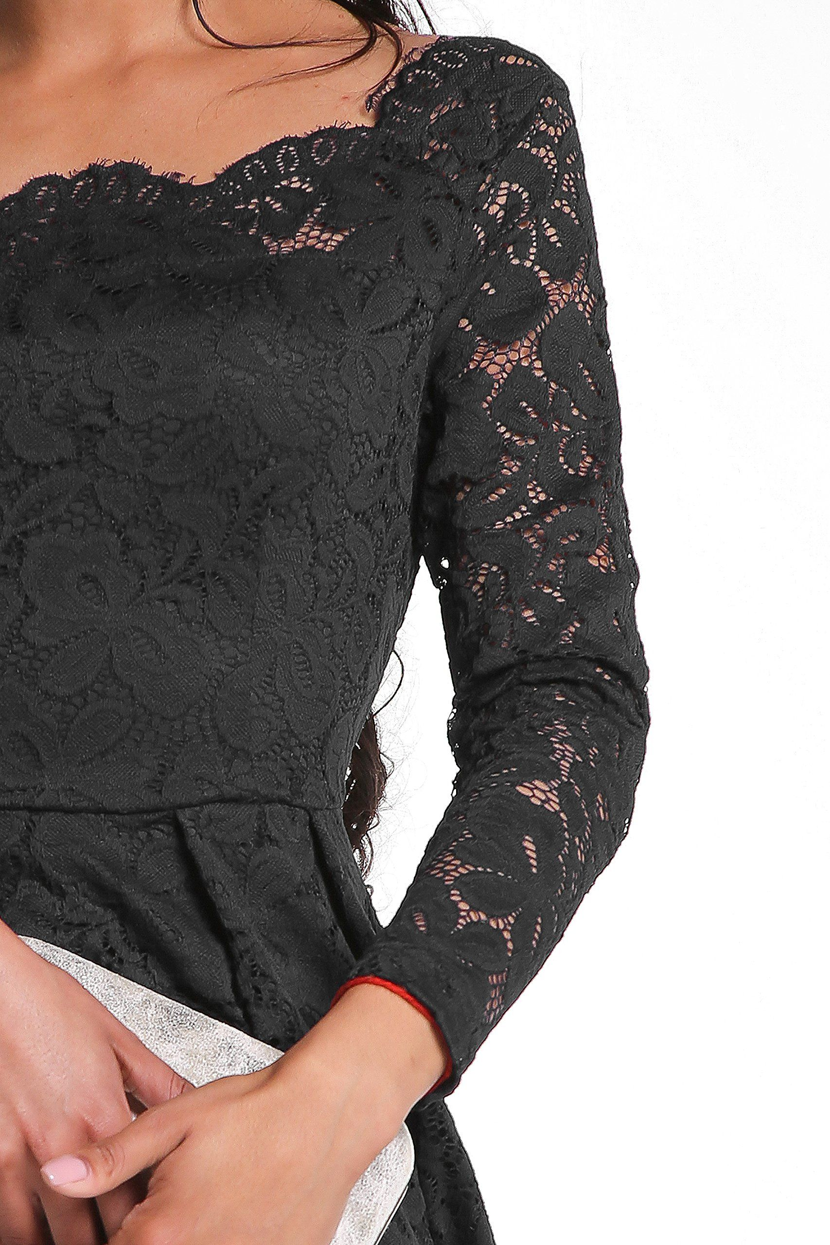 c0728ea2260 ANETTE Womens Vintage Long Sleeve Boat Neck Floral Lace Semi Formal  Cocktail Swing Dresses Black Large     Learn more by visiting the image  link.