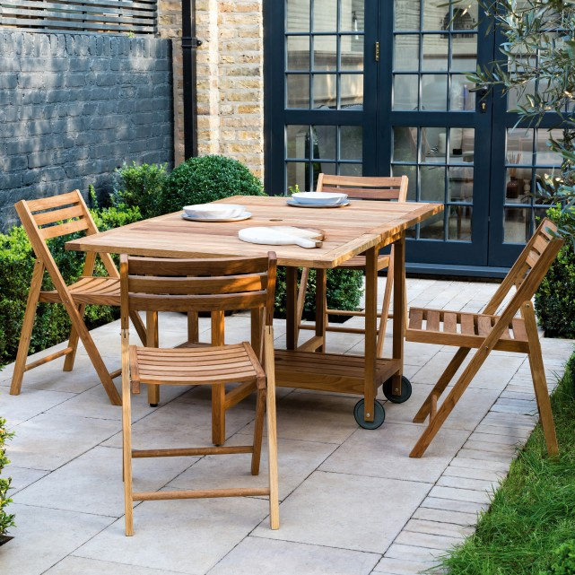 Zeno Solid Oak Garden Table And 4 Chairs Set In 2020 Folding Garden Chairs Garden Table Wooden Garden Table