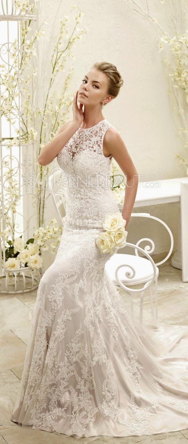 Elegant Brautkleider lang mit Spitze Meerjungfrau Hochzeitskleider ...