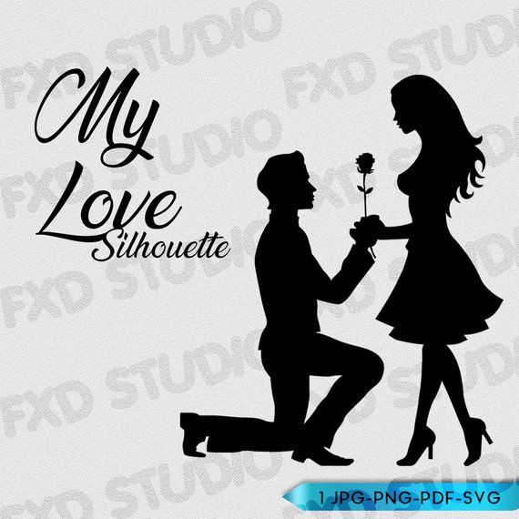 Download My Love-Couple Silhouette Clip Art, Couple Clip Art Image ...