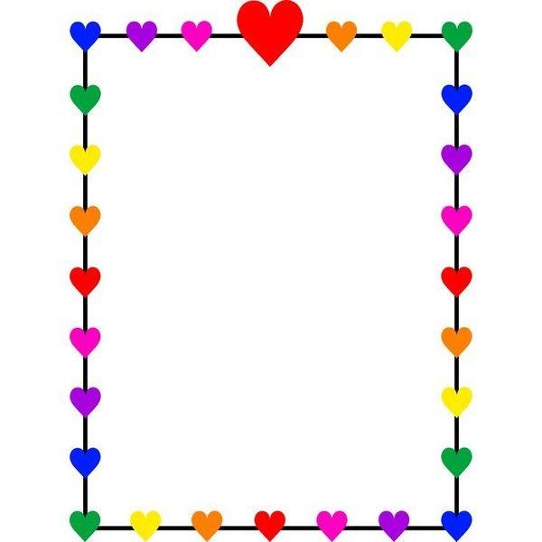 Rainbow Hearts Border Frame Free Clip Art Liked On
