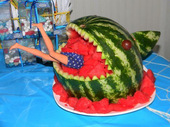 Boys shark birthday party ideas watermelon