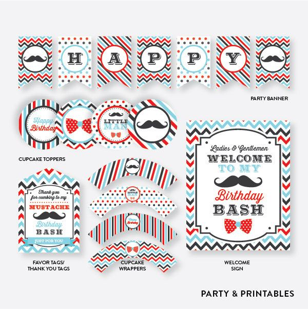 Mustache Standard Kids Birthday Party Package / Non-Personalized / Instant Download (SKB.07)