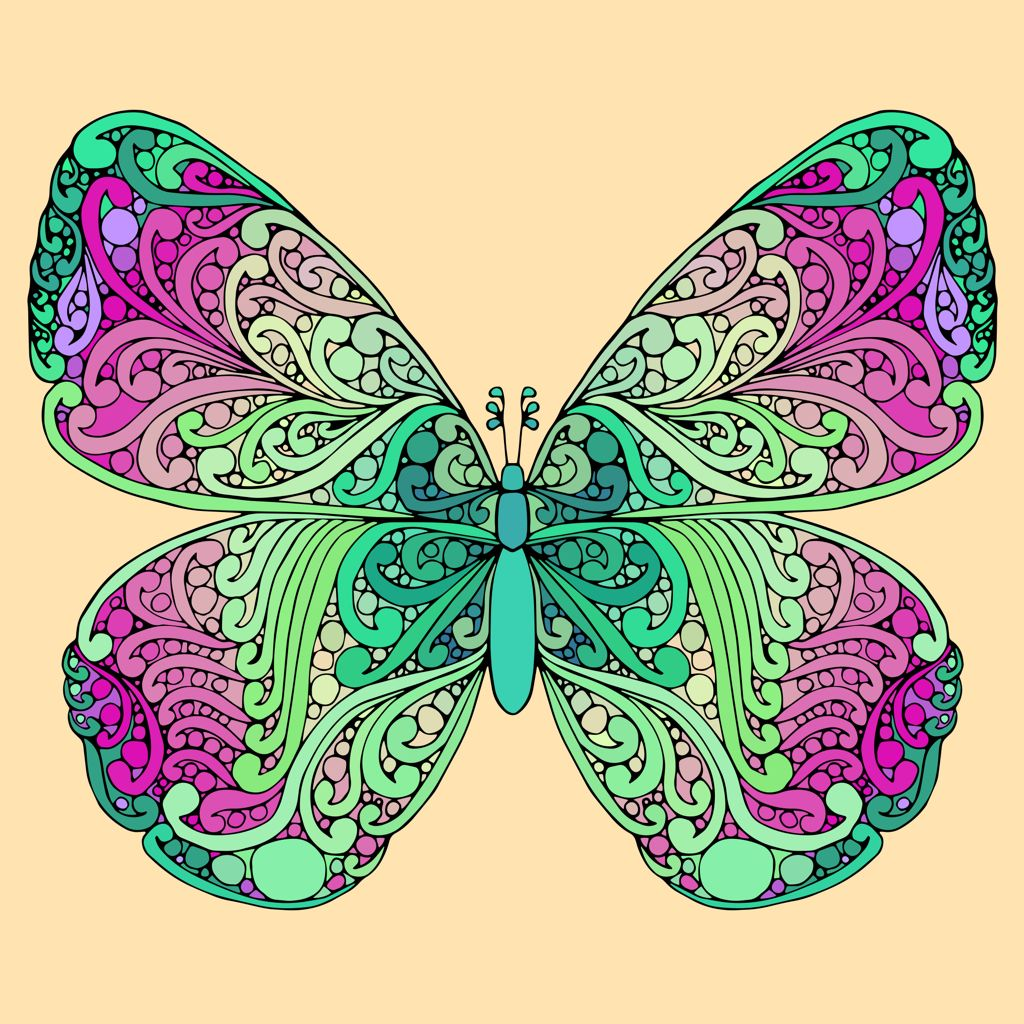 Just Painted This Picture In The New Coloring App Butterfly Art Line Art Creative Art
