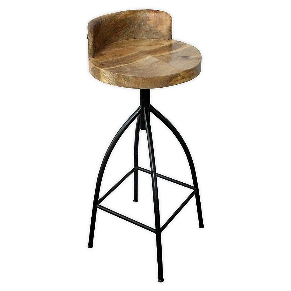 Industrial Style Adjustable Swivel Bar Stool with Backrest in ...