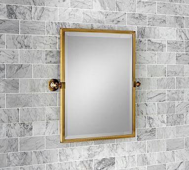 Kensington Pivot Mirror, Rectangle,Brass finish | Espejo