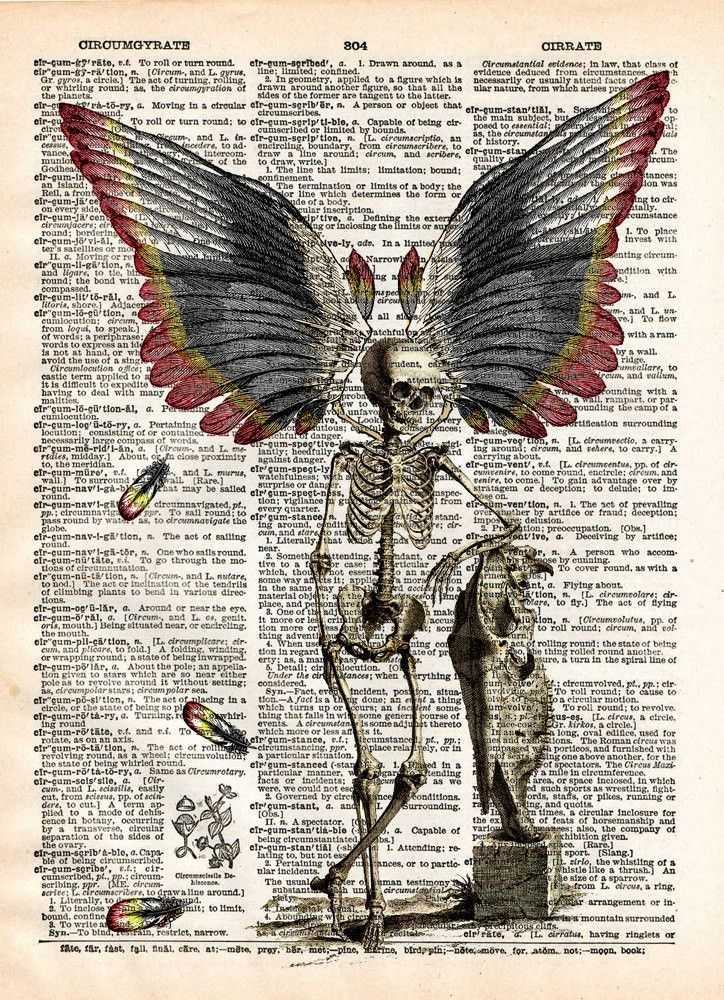 Dark fairy art print of winged skeleton. Its not easy being creepy and beautiful at the same time. This guy pulls it off with class! These unique and original artwork are printed on authentic vintage