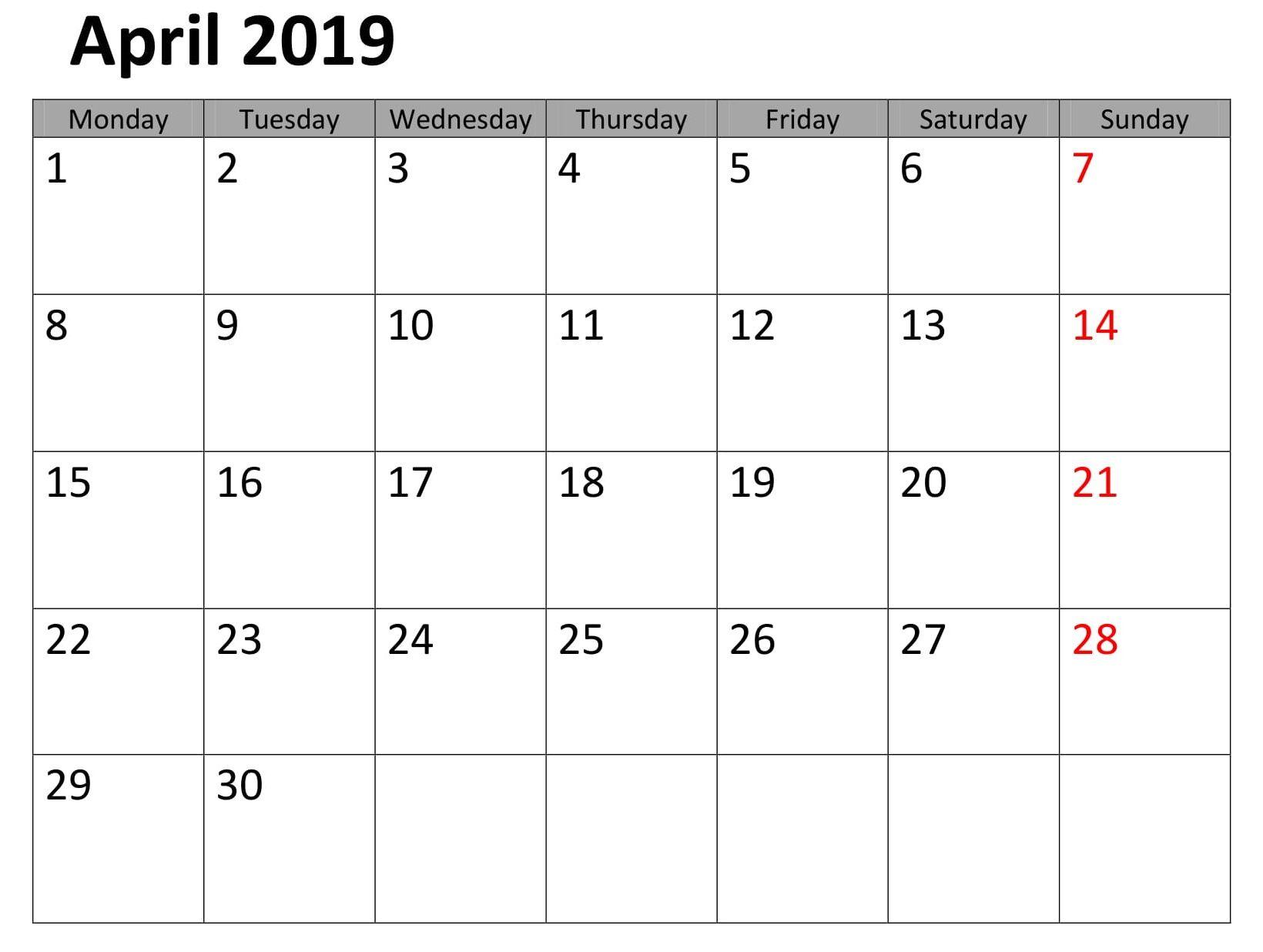 April 2019 Printable Pdf Calendar Calendar Printables Free