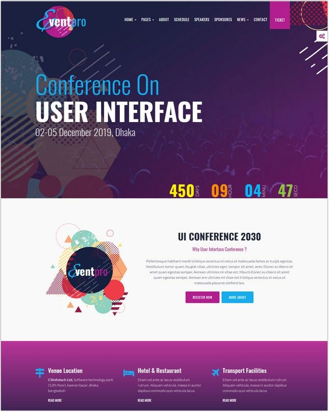 Conference Event Meetup Html Template Conference Design Website Template Conference Themes