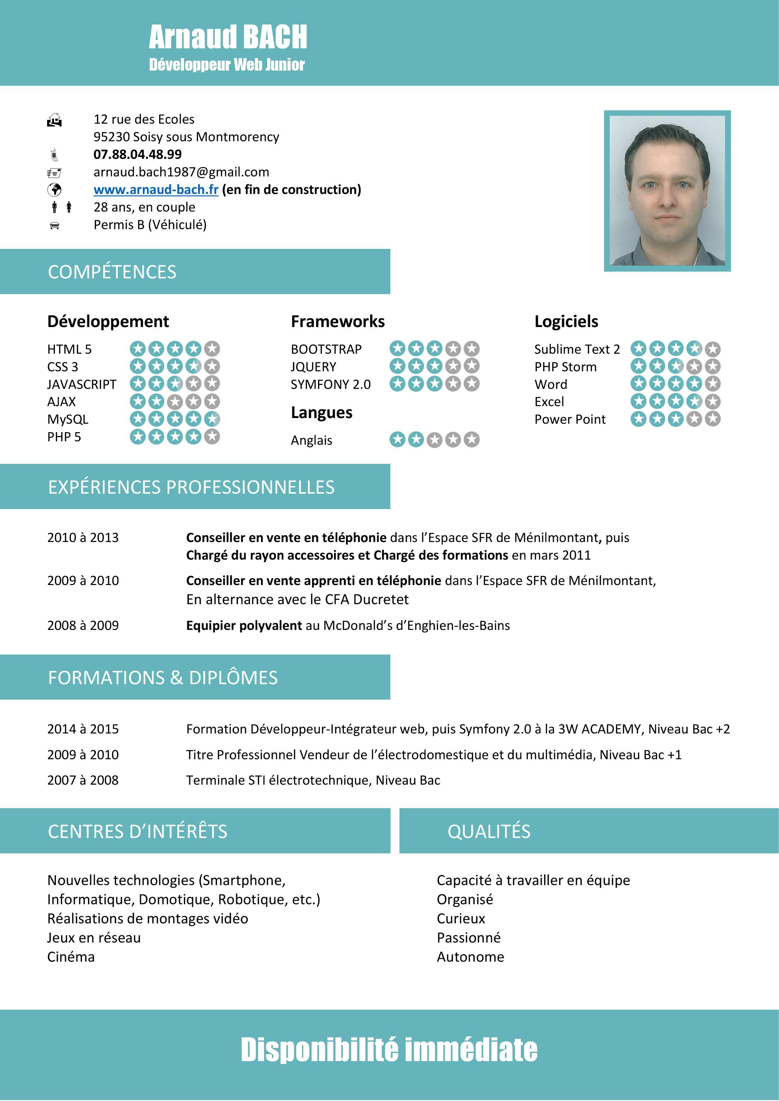 Cv David Marchesson Cv Developpeur Php Cv Developpeur Ios