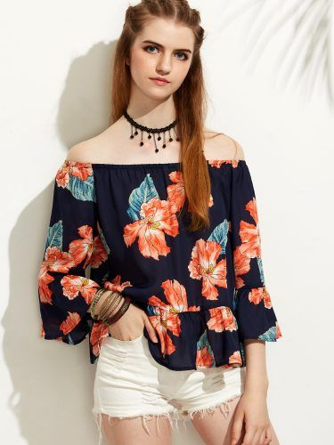 Floral Print Off The Shoulder Ruffle Hem Blouse