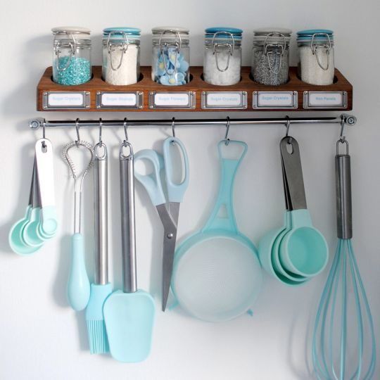 Create a hanging baking stationIf you find yourself constantly reaching for the