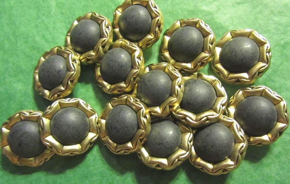 """14 - 7/8"""" GOLD TONE METAL LOOK SURROUND GRAY PLASTIC SHANK BUTTONS - Vtg LOT#72"""