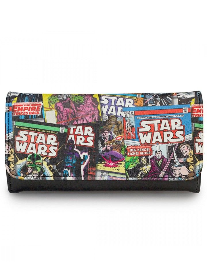 """Star Wars Comic Print"" Faux Leather Wallet by Loungefly (Multi) #InkedShop #StarWars #wallet #comic #cool #geekchic"