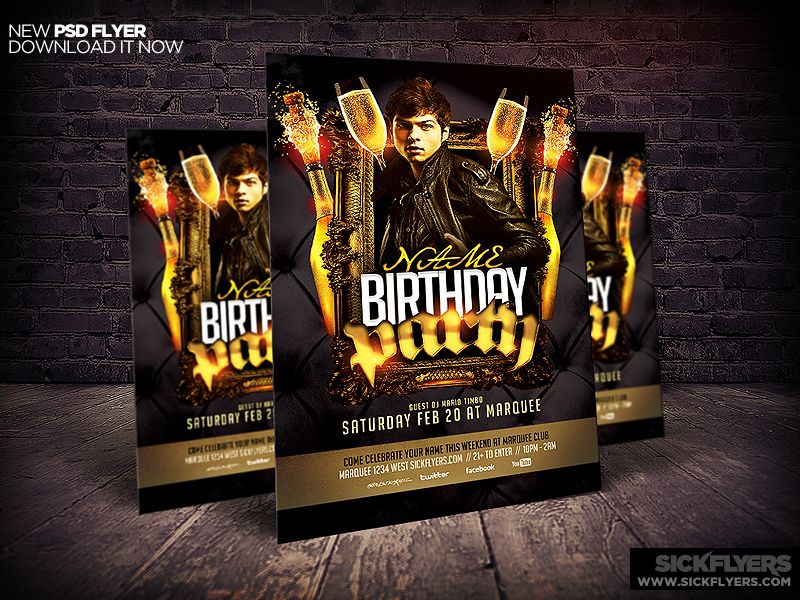 Birthday\/Bachelor Party Flyer Template Party flyer, Bachelor - birthday flyer template