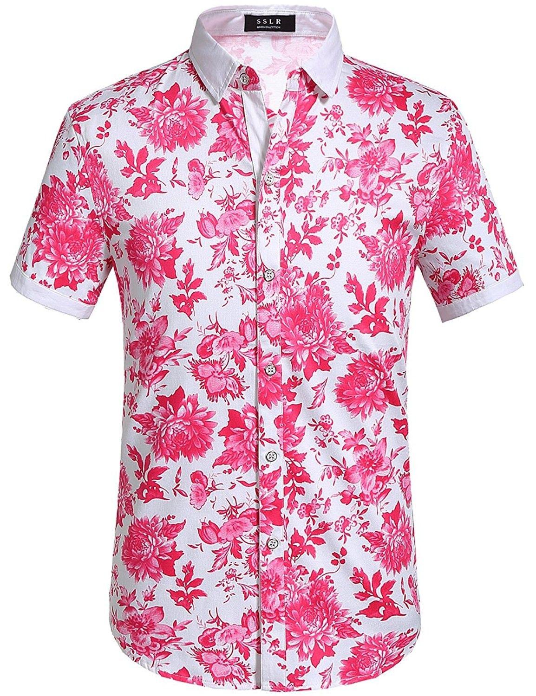 869daebd Men's Clothing, Shirts, Casual Button-Down Shirts, Men's Floral Button Down  Short Sleeve Hawaiian Tropical Shirt - Fuchsia - CK1822C7EHN #men #fashion  ...