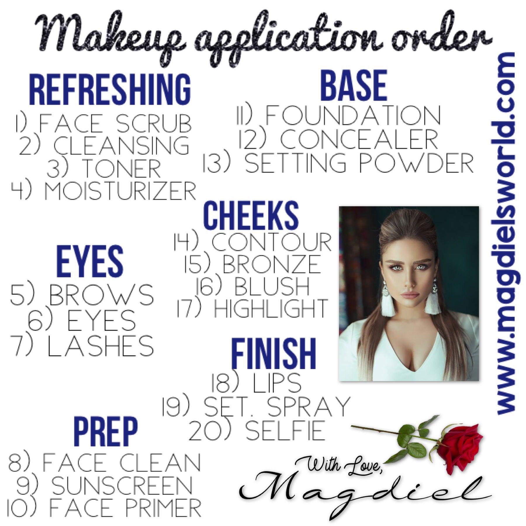 Makeup Routine Makeup application order, Makeup, Makeup