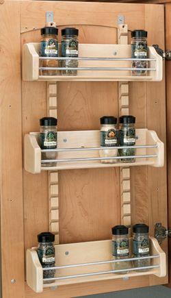 Wood Spice Rack Three Adjustable Shelves With Slotted Standards Provide Door Mount Spice Kitchen Organizationkitchen Storagekitchen