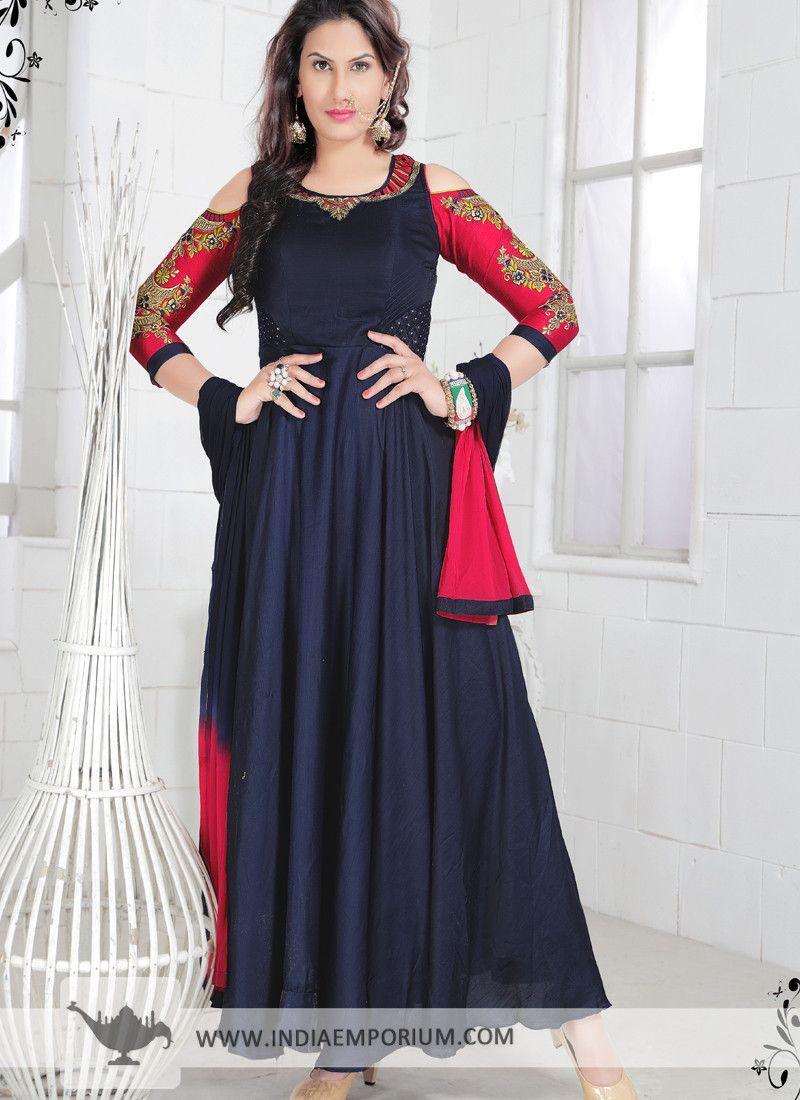 6a4cc353e1 Sensible Navy Blue Silk #Embroidered #Cut Shoulder #Anarkali #Suit ...
