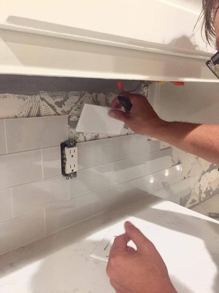 Diy backsplash with aspect peel and stick tiles stick on