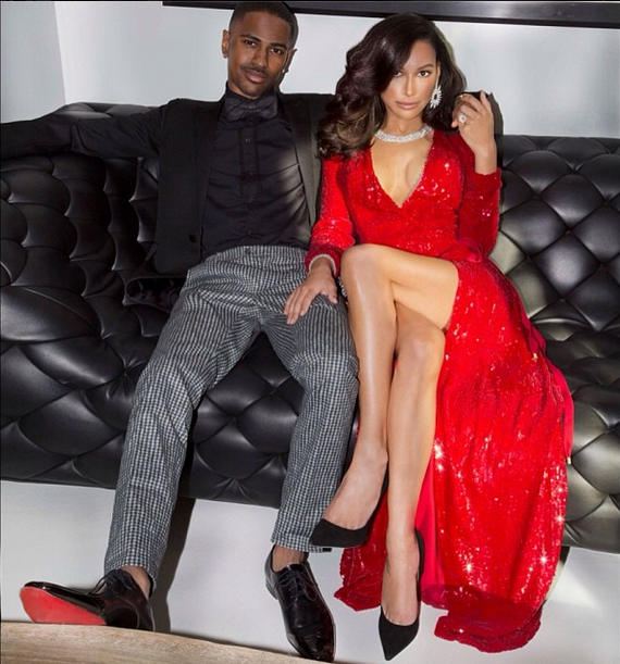 Naya Rivera's Big Sean Engagement Christmas Card Diane von Furstenberg Julian Red Sequin Wrap Gown