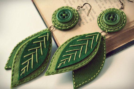Earrings  http://www.etsy.com/listing/57973779/falling-leaves-embroidered-wool-earrings