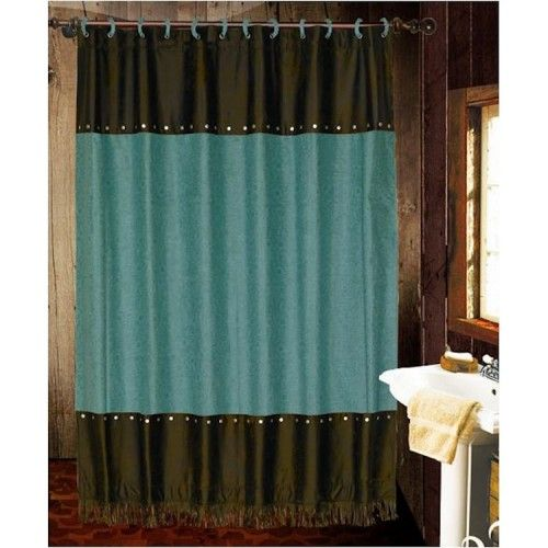 Turquoise Cheyenne Shower Curtain Brown Bathroom Decor Western Shower Curtain Turquoise Shower Curtain