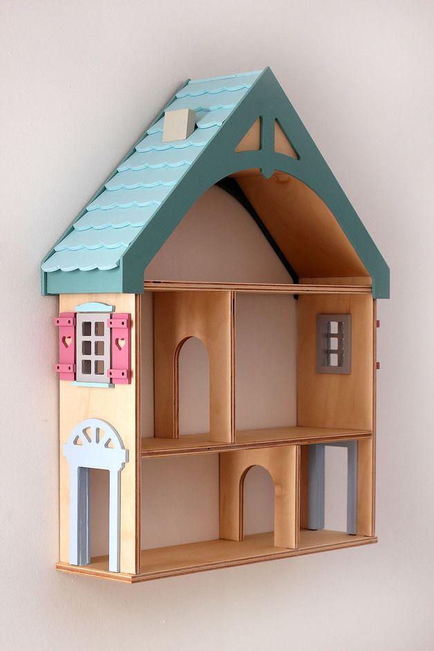 """Kindermöbel regal  Kindermöbel - Regal PUPPENHAUS """"BLUE"""" - ein Designerstück von ..."""