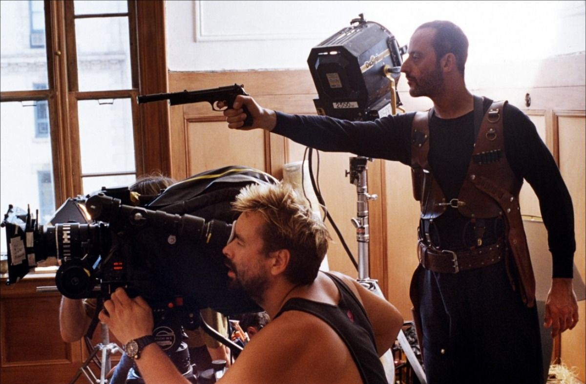 Luc Besson and Jean Reno on-set of Leon: The Professional (1994)