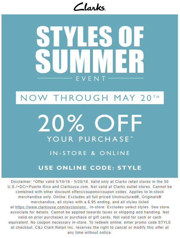 off at #Clarks or online via promo code