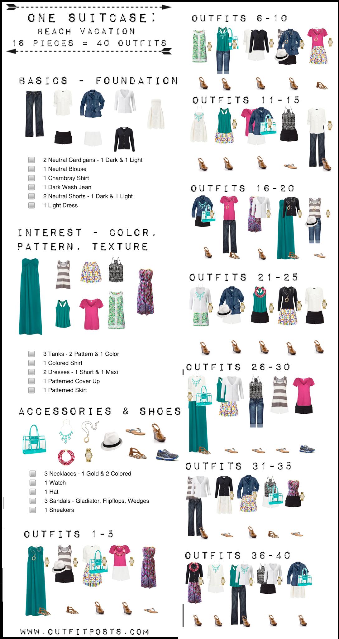 Outfit Beiträge: ein Koffer: Strandurlaub Kapsel Kleiderschrank | Wysockiit | Advent