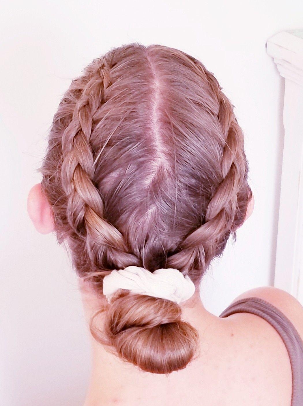 Braids Into Bun In 2020 Lazy Hairstyles Hair Styles Braided Bun