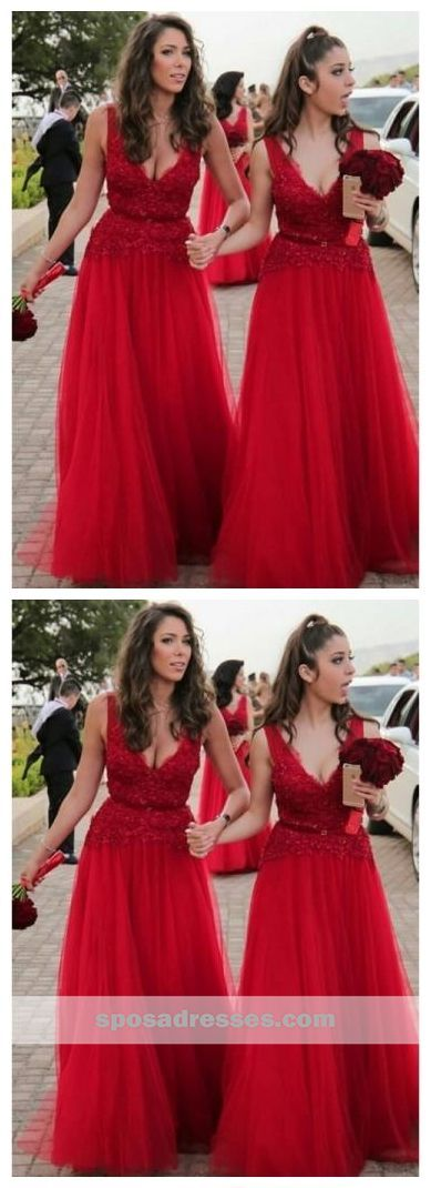 8b379fd54f4 Bright Red V Neck Tulle Lace A-line Cheap Bridesmaid Dresses Online ...