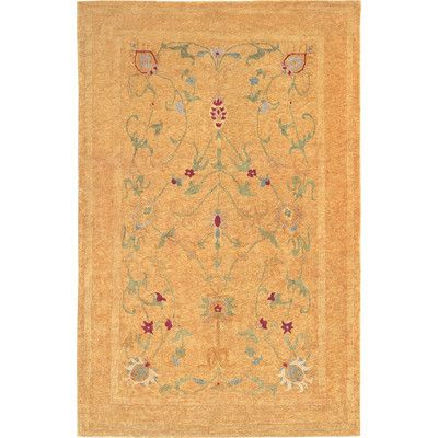World Menagerie Chriswell Himalayan Sheep Gold Floral Indoor/Outdoor Area Rug Rug Size: 9' x 12'