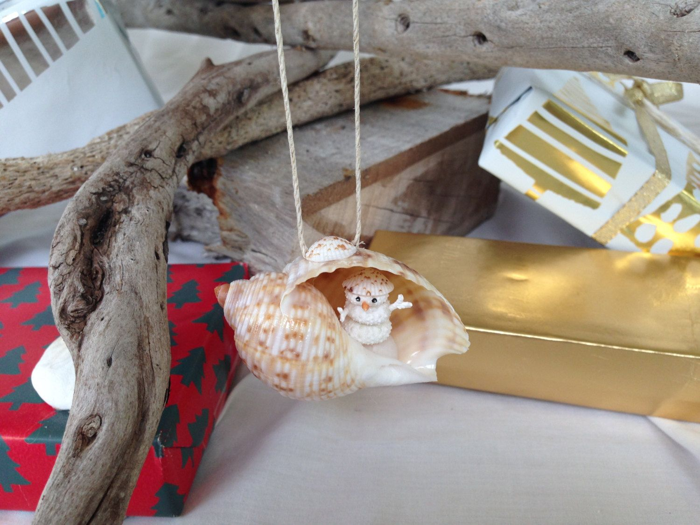 Sea shell christmas ornaments - Sea Urchin Snowman Christmas Ornament Sea Shell Christmas Ornament Peek A Boo