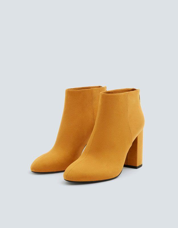 Basic mustard yellow high heel ankle boots PULL&BEAR en
