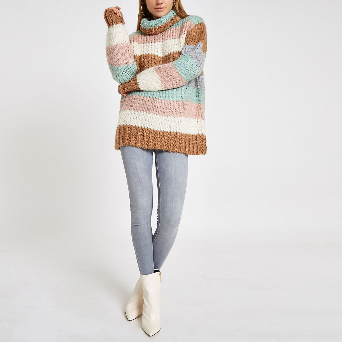 e3f1fd142d Brown knit stripe oversized roll neck jumper