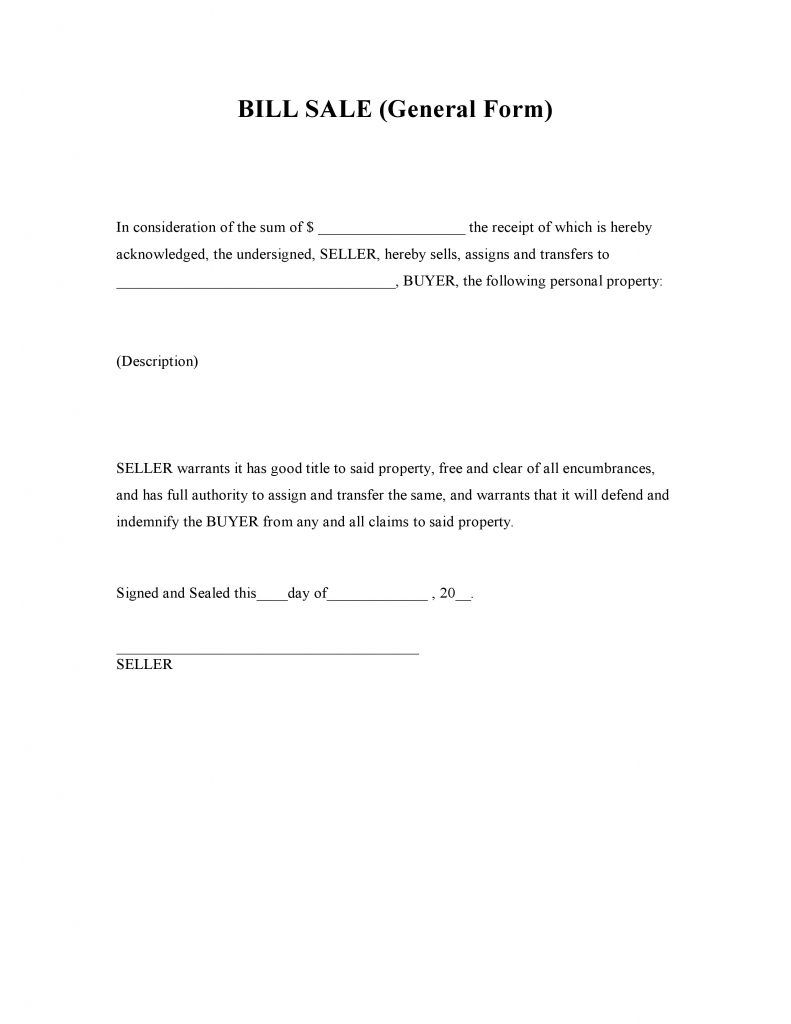 General Bill Of Sale Form  Bill Of Sale Forms