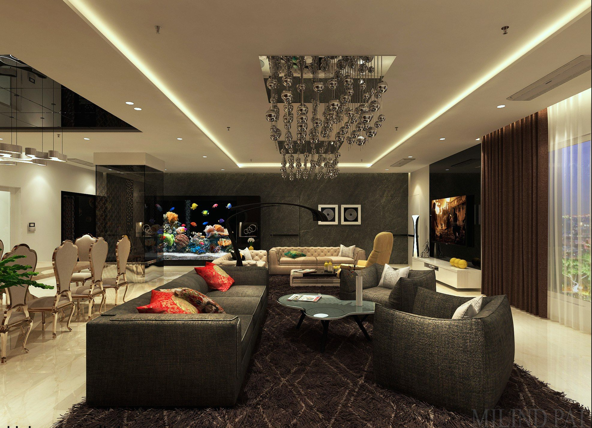 A luxurious living room design for a high rise apartment